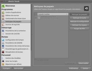 Nettoyage avec Ubuntu Tweak