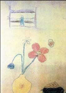 Le vase de fleurs avec papillon