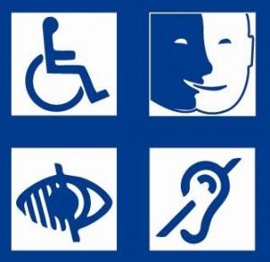 Logos représentant les handicaps visuel, auditif, moteurs, mentaux