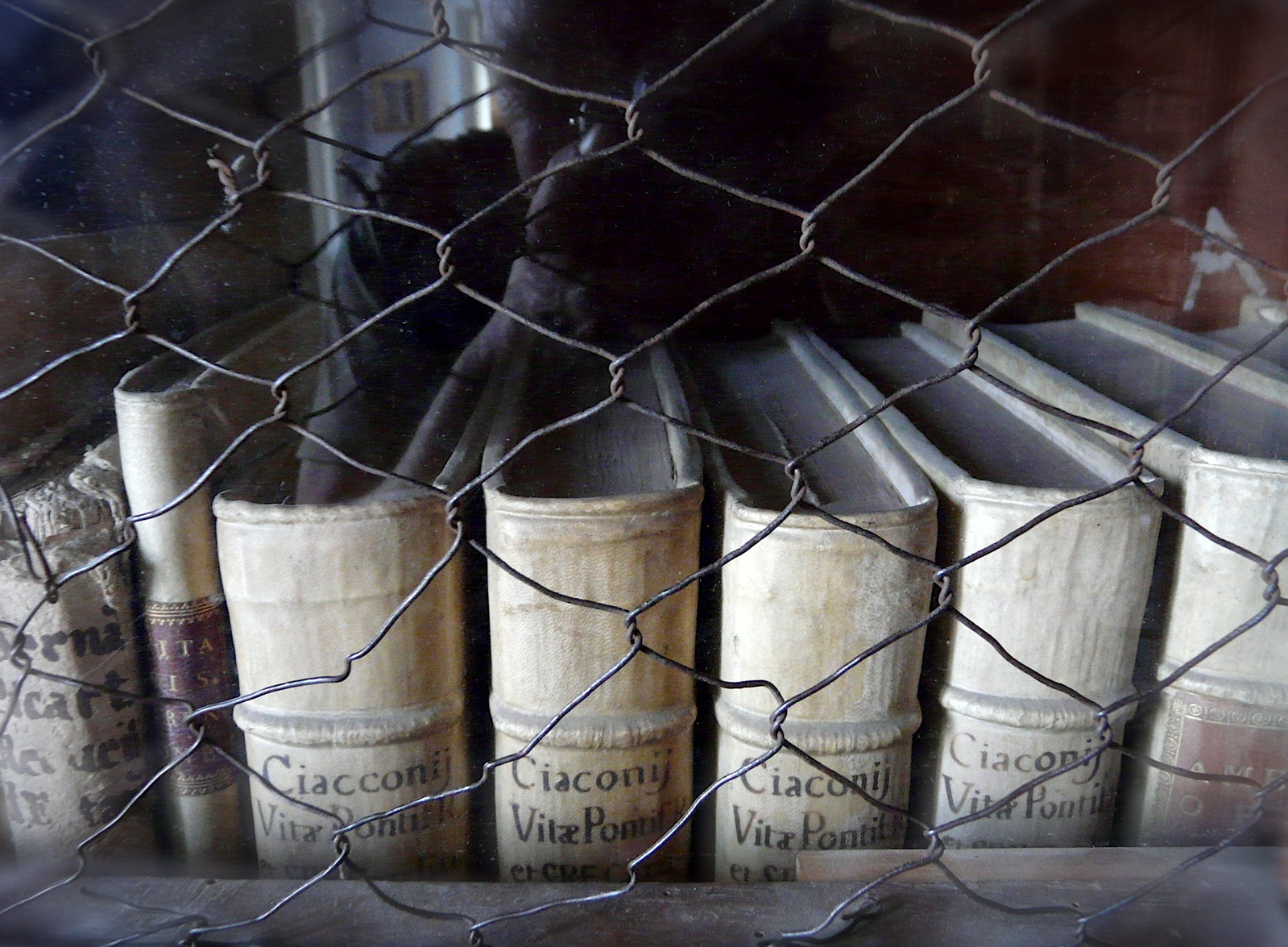 Livres anciens dans un placard grillagé